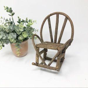 Mini Rustic Boho Twig Rocking Chair